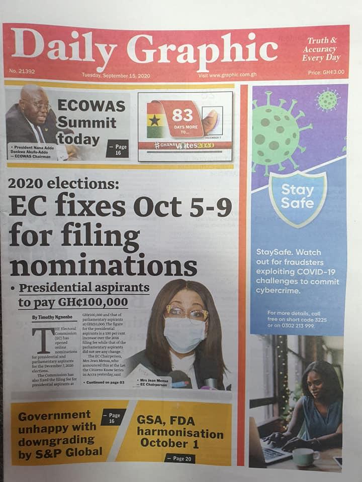 Newspaper Headlines: Tuesday, September 15, 2020. 19