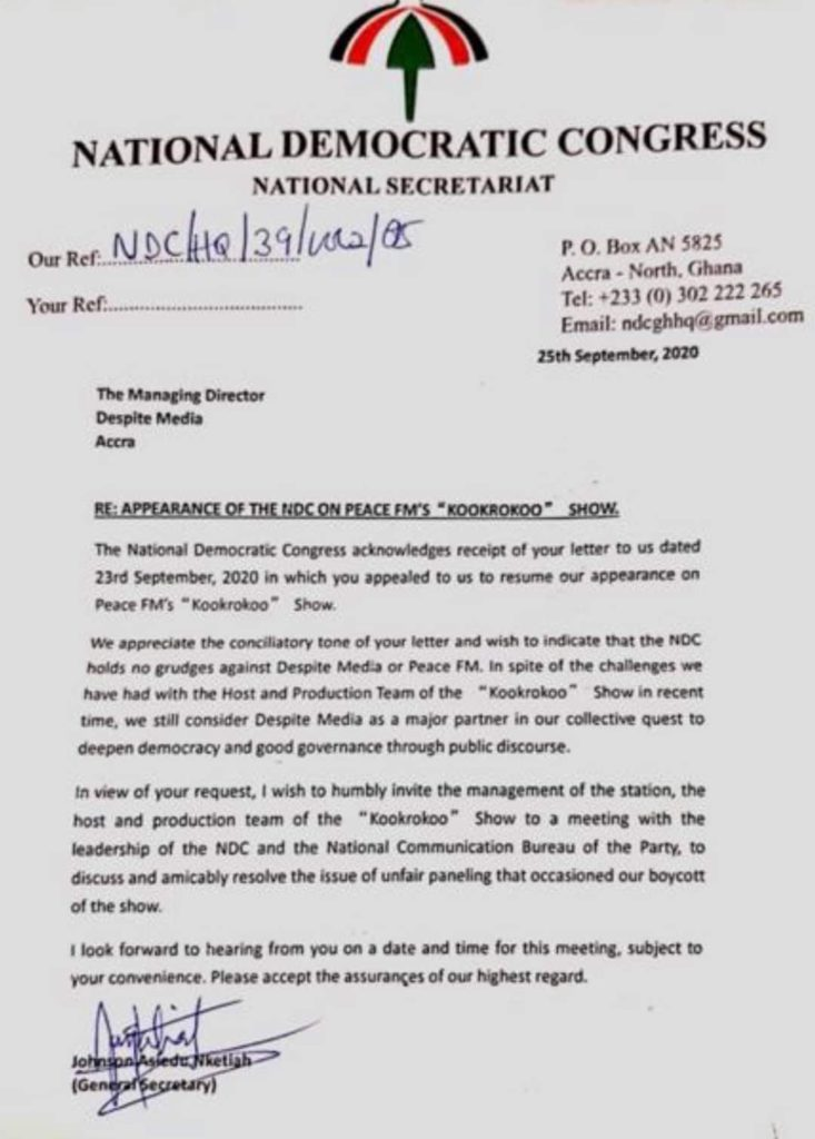 NDC Releases Official Statement Over The Boycott Of Despite Media. 4