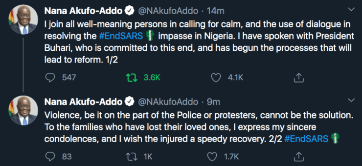 Just In: President Akufo Addo Finally React To #EndSARS Protest. 4