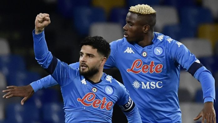 Napoli's Italian forward Lorenzo Insigne (L) celebrates with Napoli's Nigerian forward Victor Osimhen Image credit: Getty Images