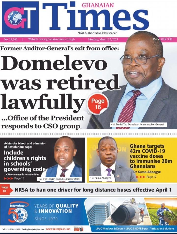 Newspaper Headlines: Monday, March 22, 2021 17