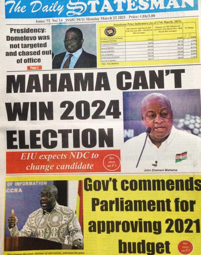 Newspaper Headlines: Monday, March 22, 2021 19
