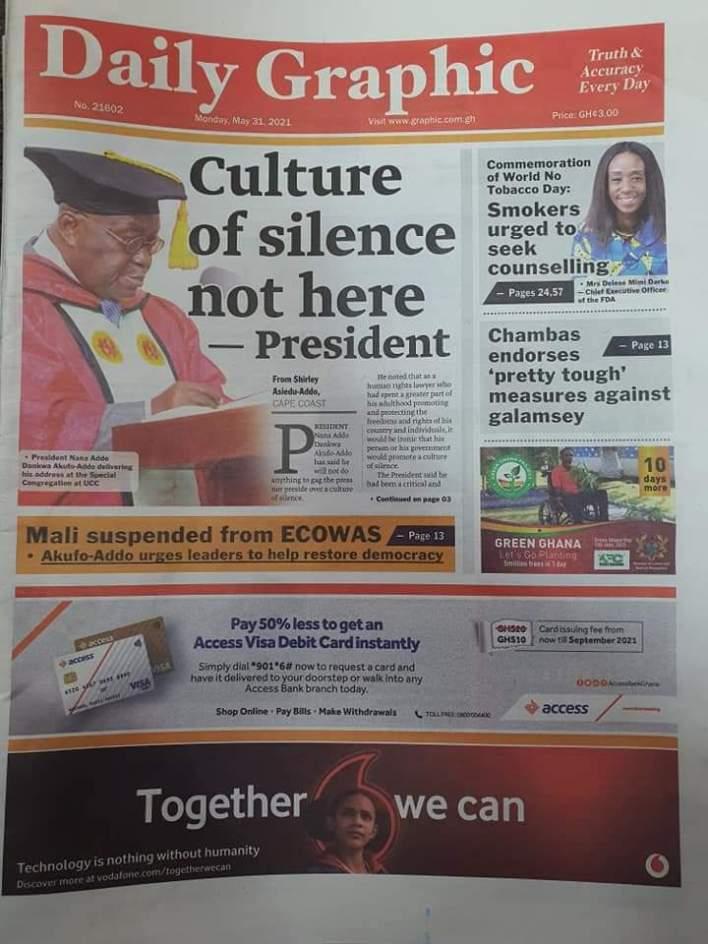 Newspaper Headlines: Monday, May 31, 2021 2