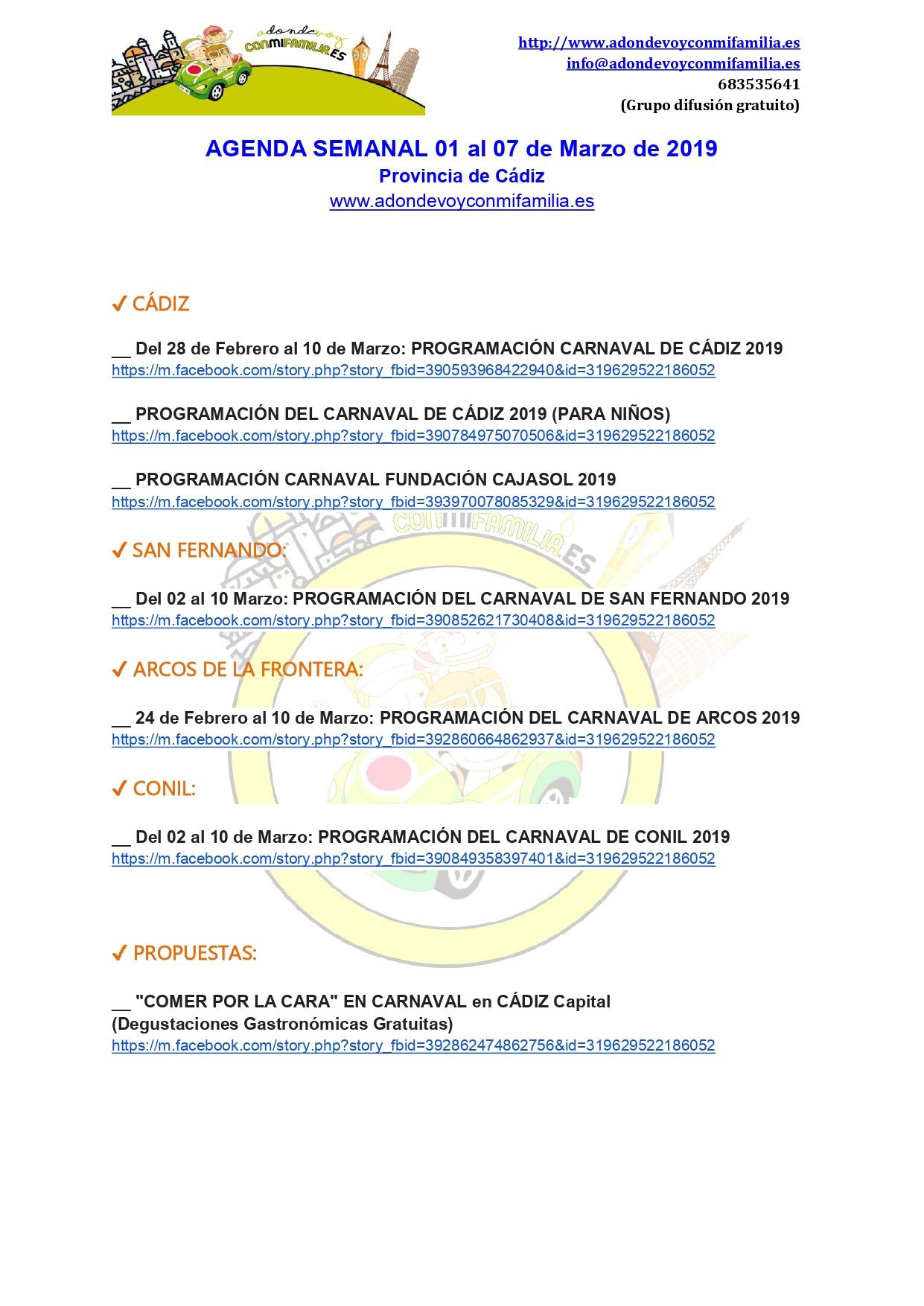 Agenda semanal 01 al 07 marzo 2019 provincia cadiz adondevoyconmifamilia