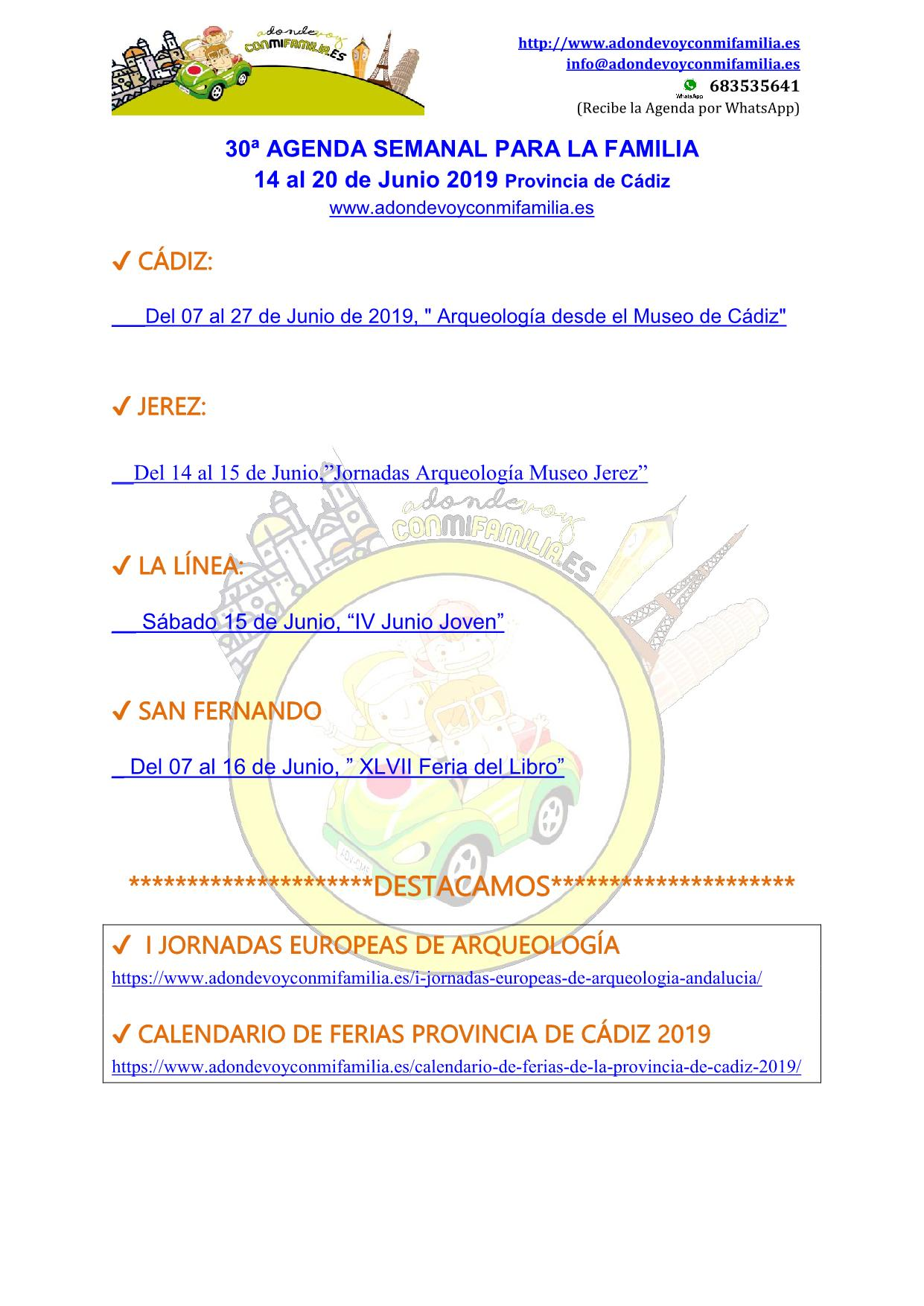 030 Agenda semanal familiar 14 al 20 Junio 2019