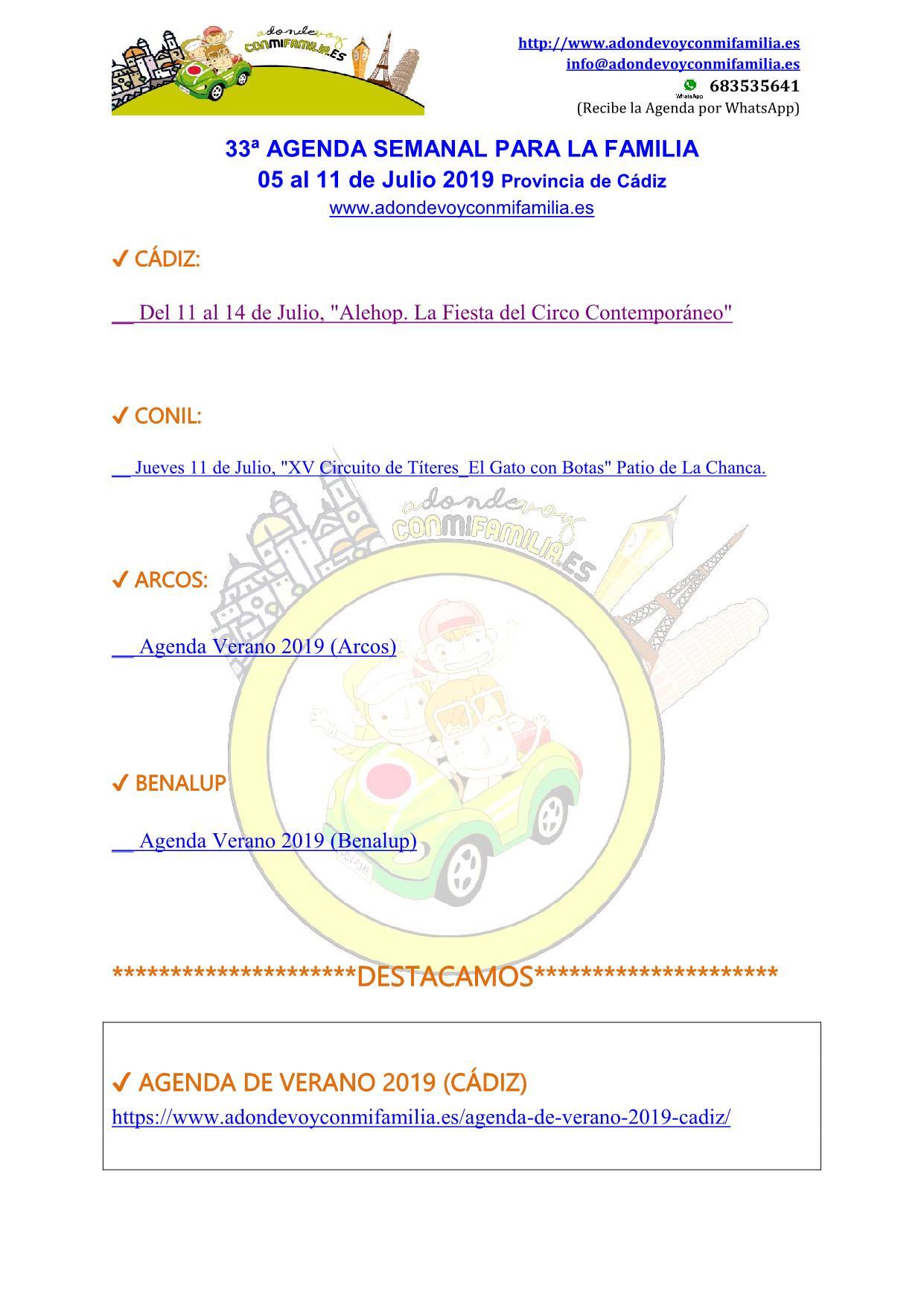 033 Agenda semanal familiar 05 al 11 Julio 2019
