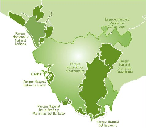 mapa parques naturales provincia de cadiz