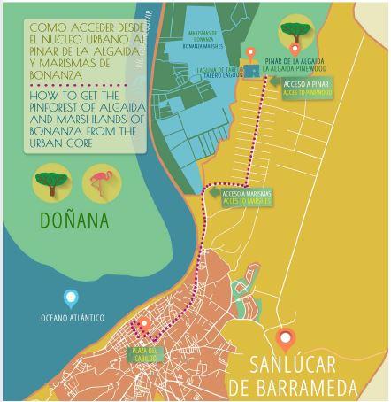 mapa acceso pinar de la algaida sanlucar de barrameda