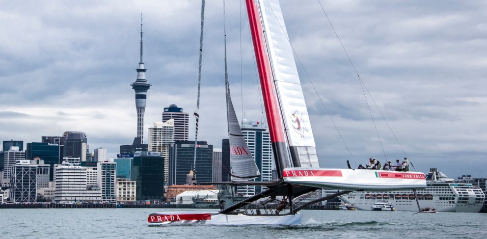 First sailing day in the Hauraki Gulf, Auckland-NZ, for AC72 Luna Rossa: the italian challenger for the 34th Americ's Cup In september 2013 in San Francisco.