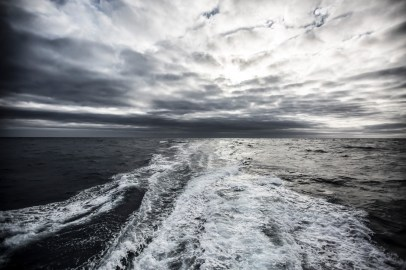 November 2, 2014. Leg 1 onboard MAPFRE. The boat¡s wake on the Southern Ocean.