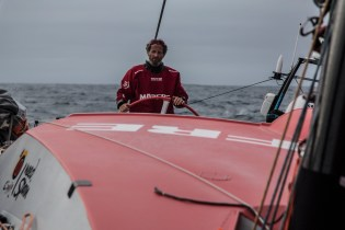 November 3, 2014. Leg 1 onboard MAPFRE. Michel Desjoyeaux steering the boat