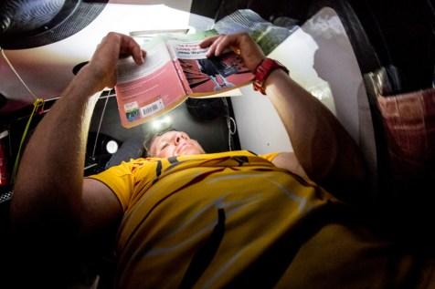 2014-15, Abu Dhabi Ocean Racing, Leg6, OBR, VOR, Volvo Ocean Race, onboard, Luke Parkinson, rest, reading, book, bunk