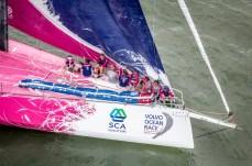 2014-15, VOR, Volvo Ocean Race, Itajai, Brazil, Start, aerial, Team SCA