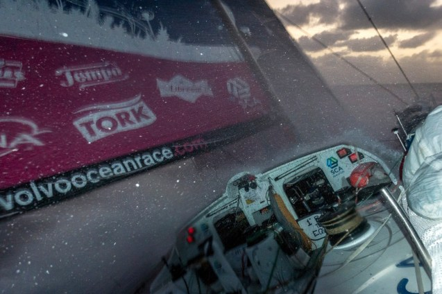 2014-15, ACTION, LEGS, Leg 6, OBR, Team SCA, VOR, Volvo Ocean Race, onboard, sunset, wave, night, splash