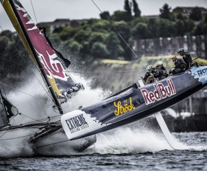 Act4, Cardiff, Day4, ESS, Extreme Sailing Series, Fleet, Hans Peter Steinacher, Jason Waterhouse, Josh McKnight, Multihull, Red Bull Sailing Team, Shaun Mason, Stadium Racing, Stewart Dodson, UK