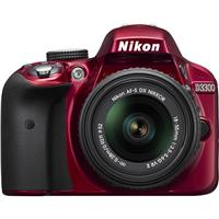 Nikon D3300 DSLR with AF-S DX NIKKOR 18-55mm f/3.5-5.6G VR II DX Lens, Red