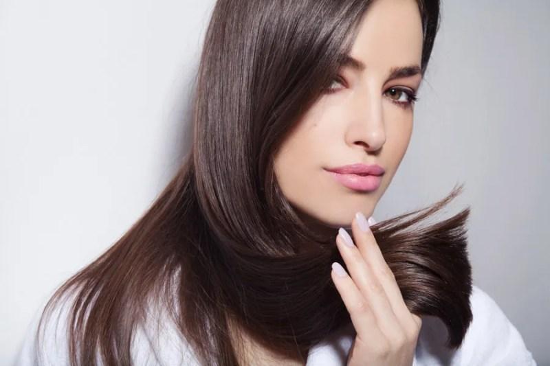 closeup of beautiful brunette model