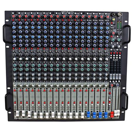 crest audio x20r professional rack mount mixer 20hz 20khz frequency response with 12 mono inputs and 4 stereo inputs and 20 microphone inputs