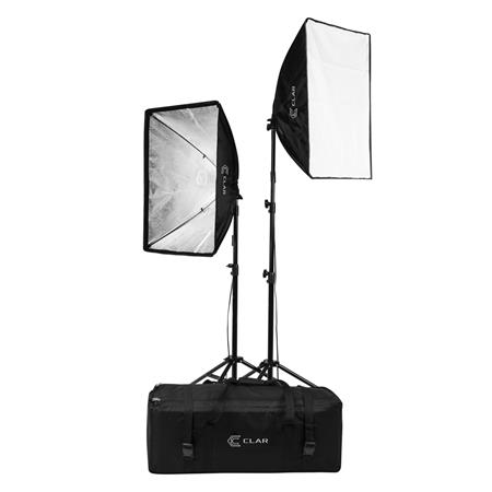 clar 2 light softbox kit fluorescent lamps 5500k bulbs stands carrying case continuous cool lights