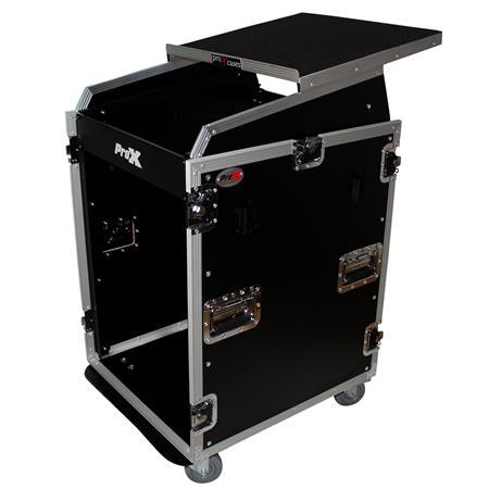 prox t 16mrss13ult flight case with laptop shelf and casters for 16u rack x 13u top mixer dj combo