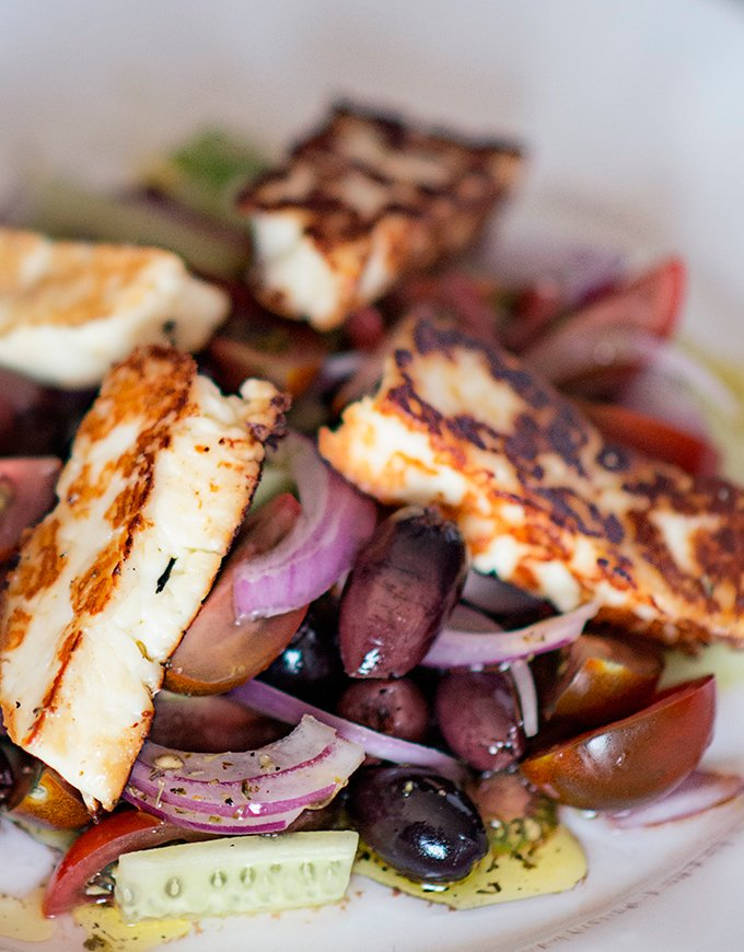 Greek Salad with Pan fried Halloumi