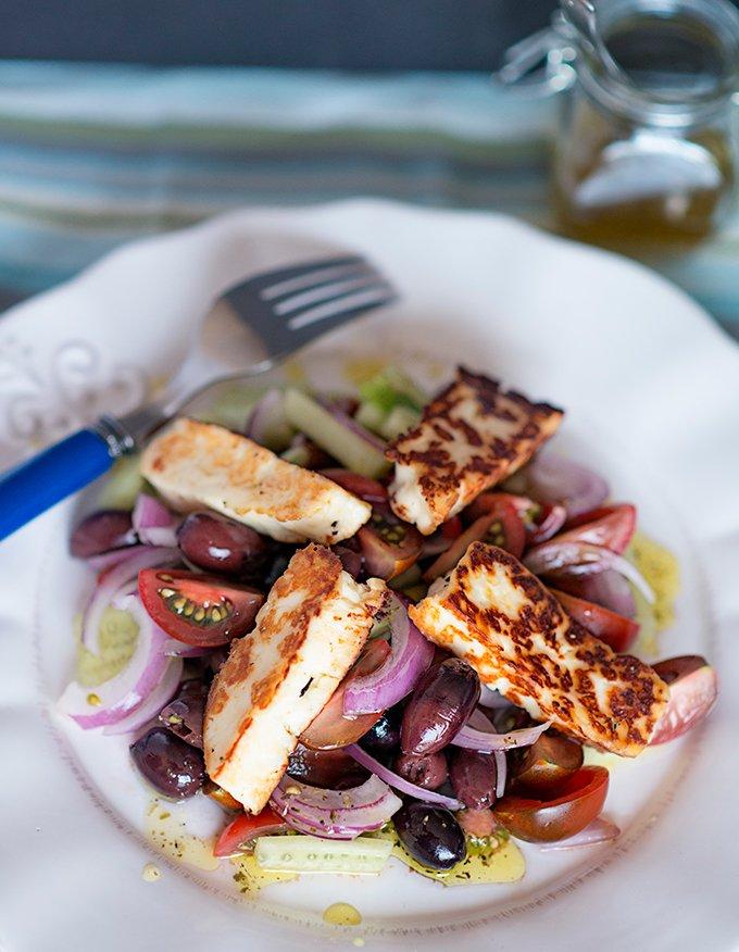 Greek Salad with Pan fried Halloumi