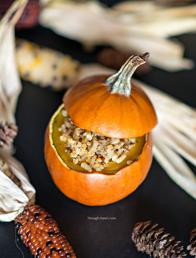 Baked Quinoa and Turkey Sausage Stuffed Mini Pumpkins