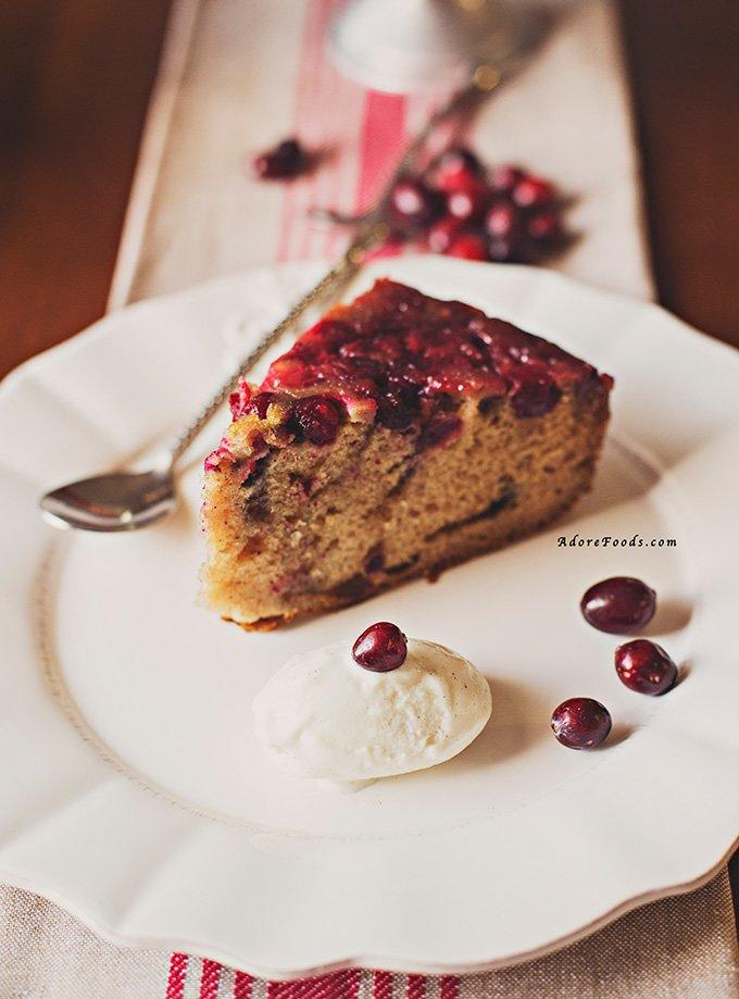 Bourbon Cranberry Upside Down Cake