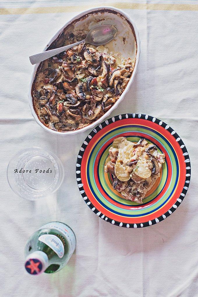 Mushroom potato pancetta gratin