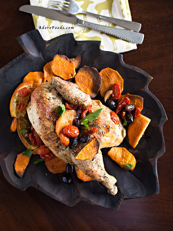 Roasted Chicken with oranges, olives and parsley