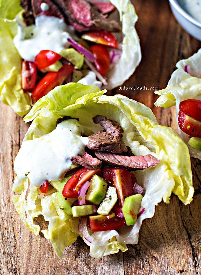 Greek Style Lamb Lettuce Wraps