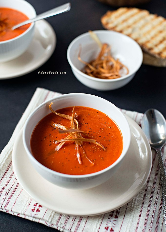 Creamy roasted pepper soup Thanksgiving