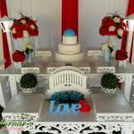 Aluguel Decoração Casamento Noivado Vermelho Com Detalhe Azul