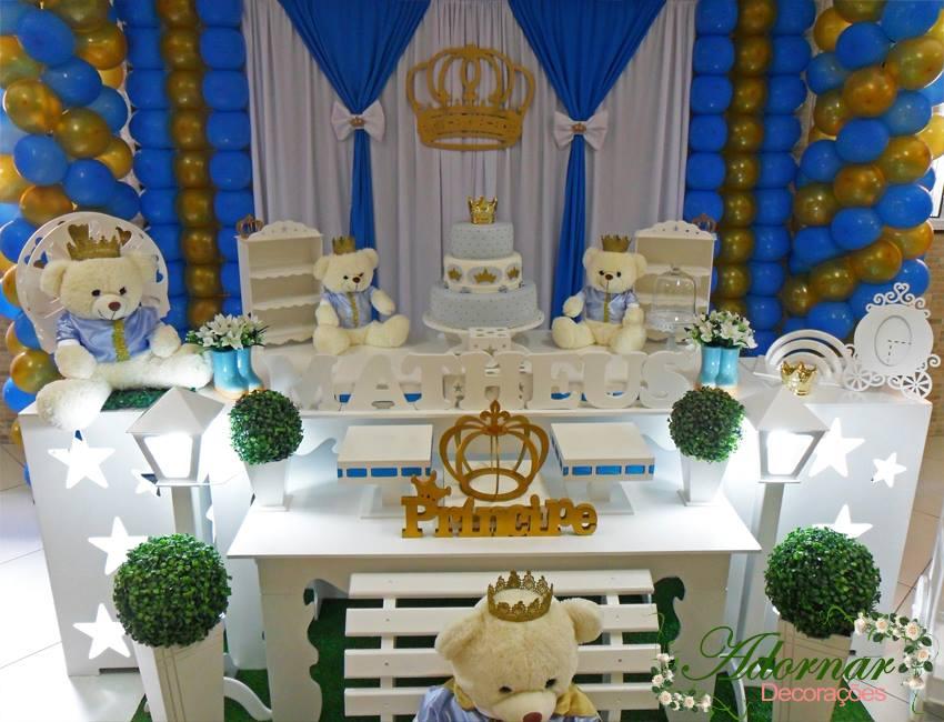 Aluguel Decoração Chá De Bebê E Infantil Príncipe Urso Azul Dourado