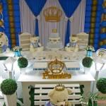Aluguel Decoração Chá de Bebê e Festa Infantil Príncipe Urso Azul e Dourado