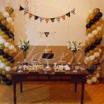 Aluguel Decoração Noivado Dourado Branco e Preto em Rústico