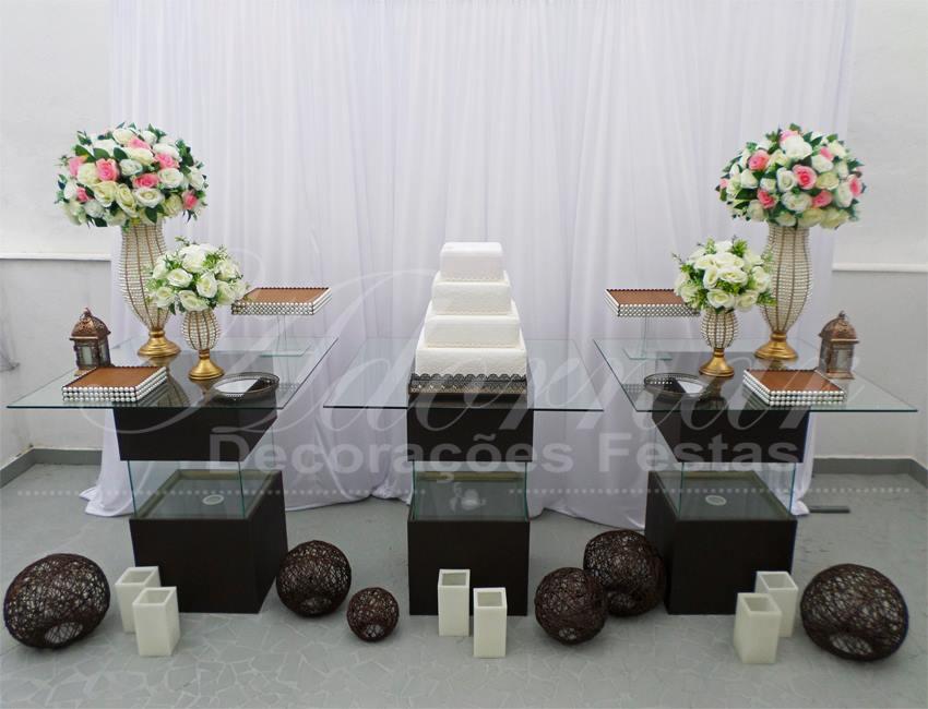 Decoração Casamento Marrom Rosa e Branco