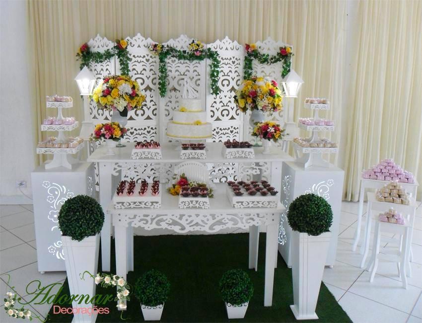 Decoração Casamento Amarelo Rosa e Branco