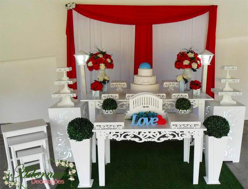 Decoração Casamento Vermelho Branco e Azul