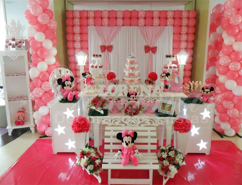 Decoração Chá de Bebê Minnie Mouse Rosa