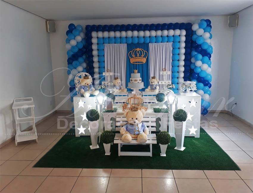 Decoração Chá de Bebê Urso Príncipe Azul e Branco