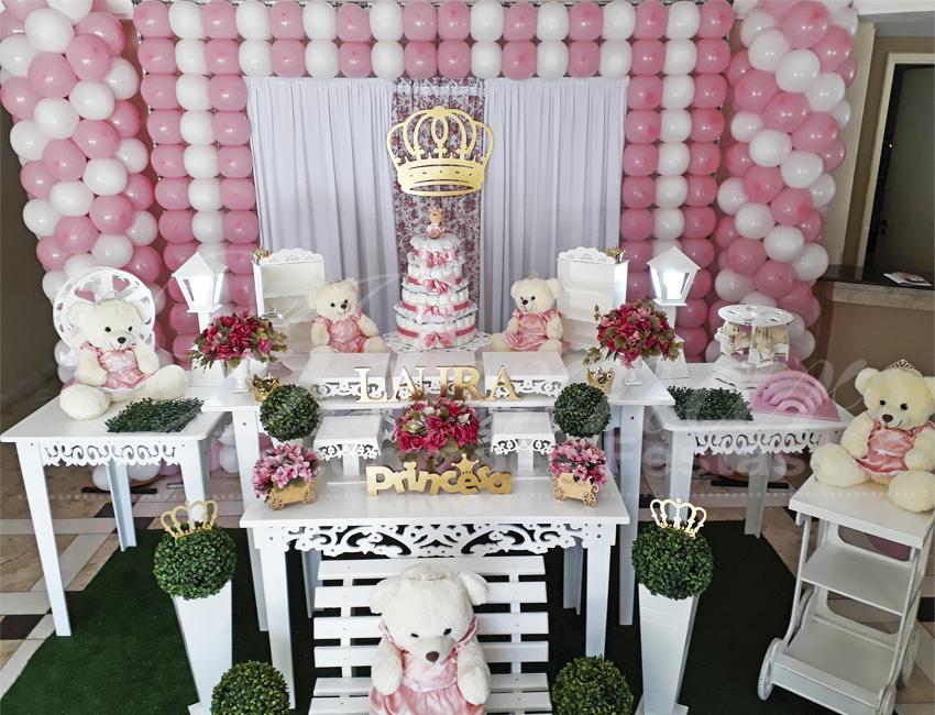 Decoração Chá de Bebê Ursa Princesa Rosa e Branco