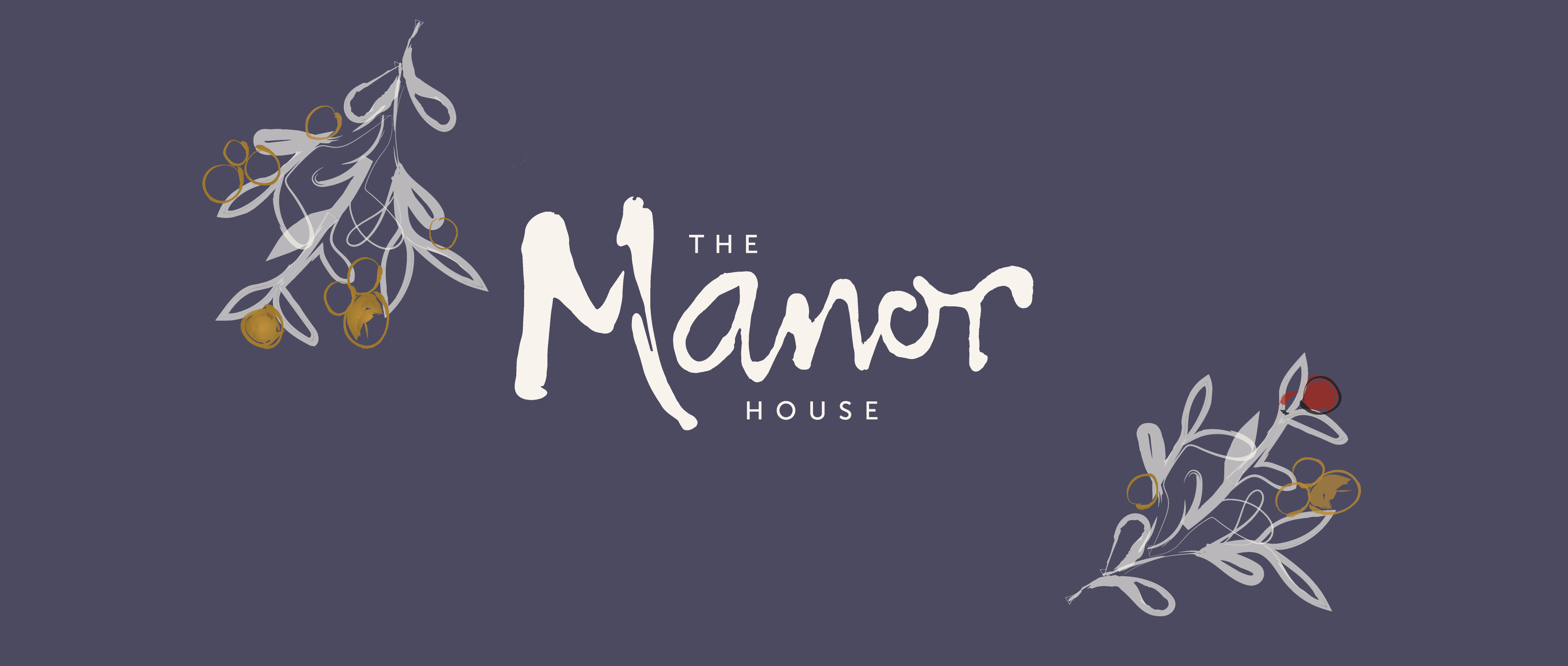 Brand identity and illustrations for The Manor House pub restaurant and bed and breakfast in Quorn.