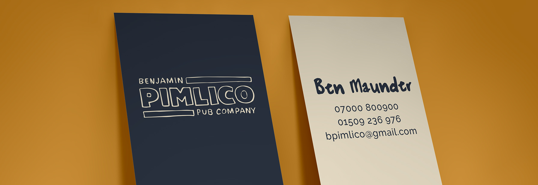Front and back of business card for Benjamin Pimlico Pub Company