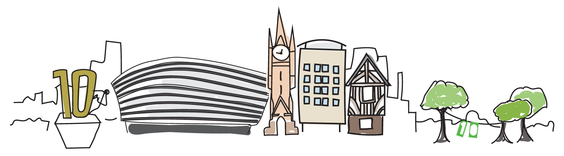 Creative Calling Leicestershire illustration showing landmarks from the area.