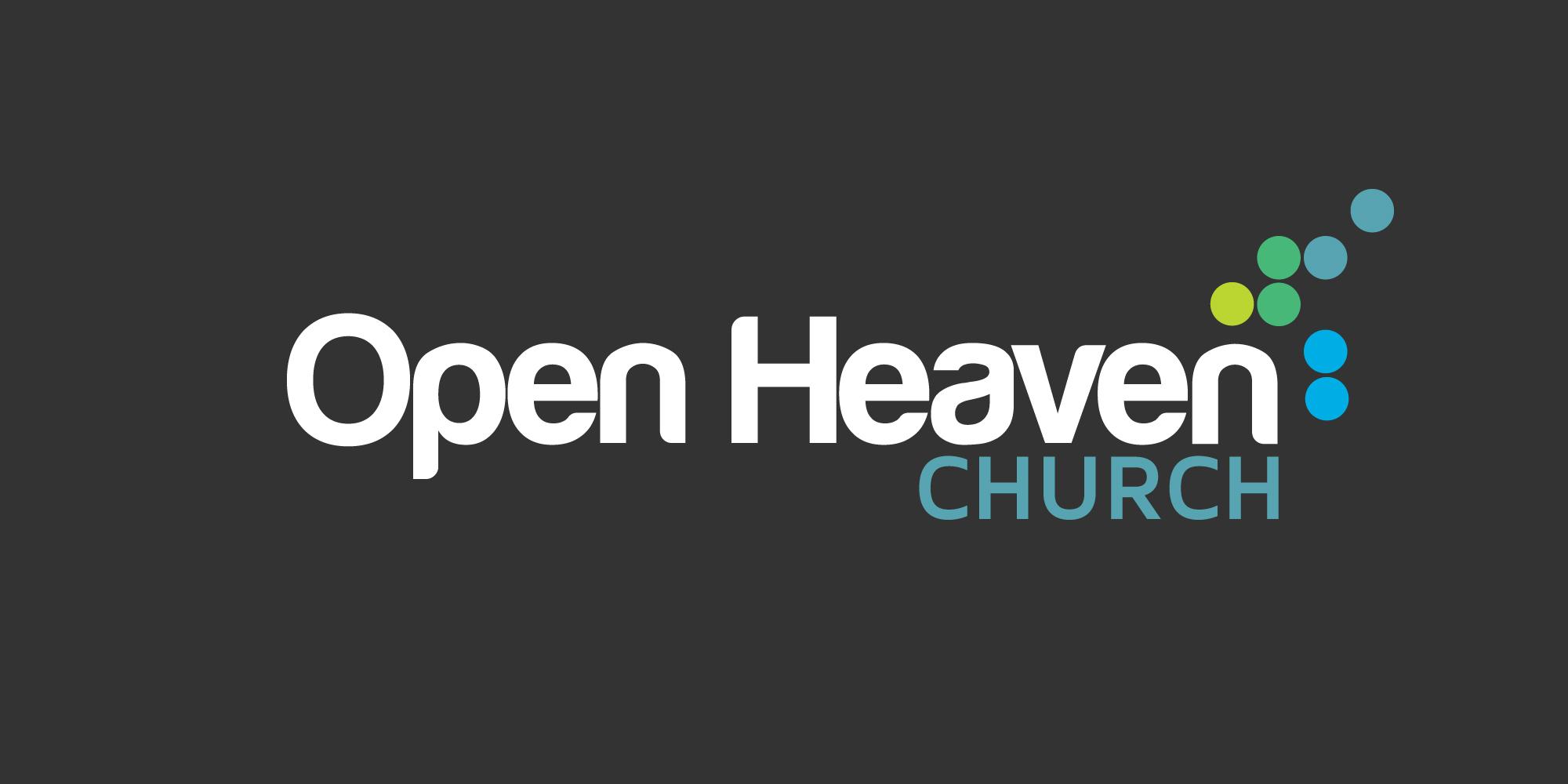 Open Heaven church logo, white logo on dark grey.