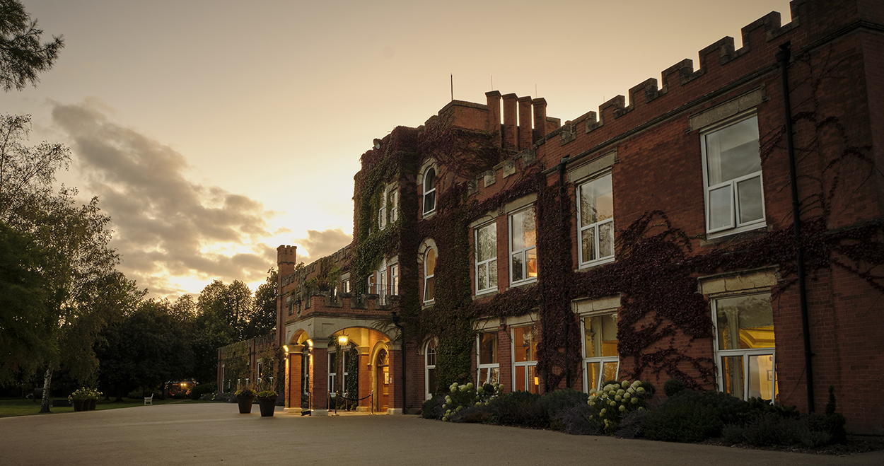 Ragdale Hall Spa exterior at dusk