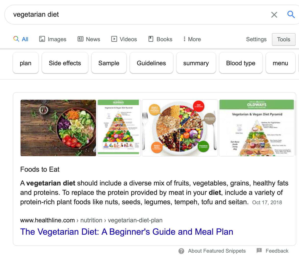 Vegetarian Diet Featured Snippet