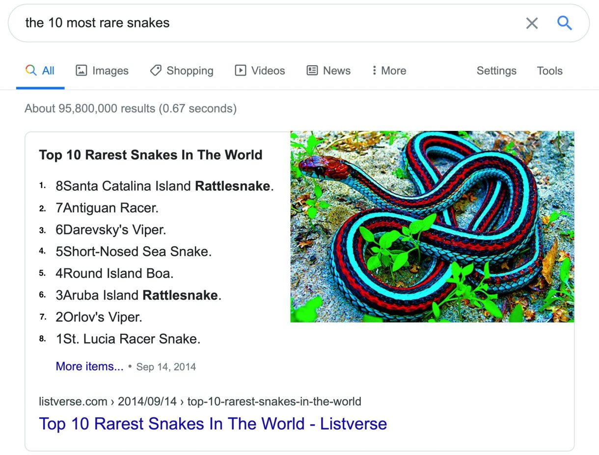 Google Snippet Worlds Most Beautiful Snakes