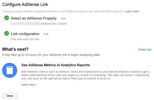 links adsense and analytics